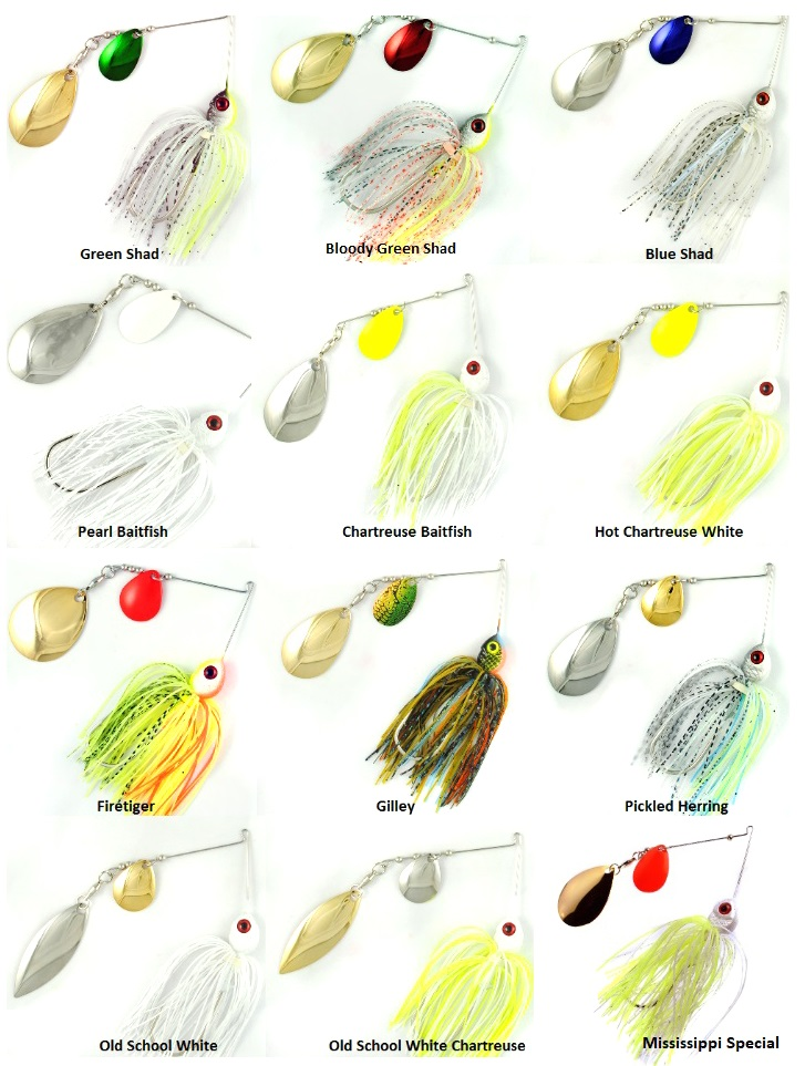ELITE SPINNERBAIT 3//8oz  WHITE with CHARTREUSE TIPS